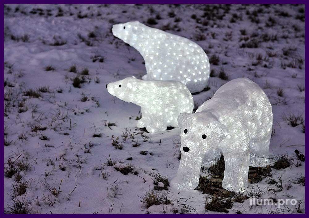 Белые медведи из акрила с подсветкой светодиодами