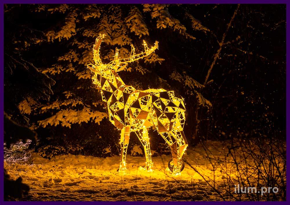 Европейские светящиеся фигуры оленей на Новый год