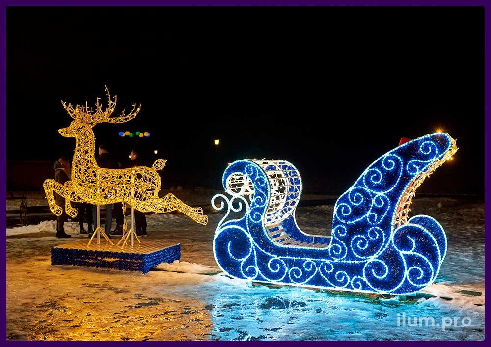 Украшение улицы светодиодными фигурами на новогодние праздники