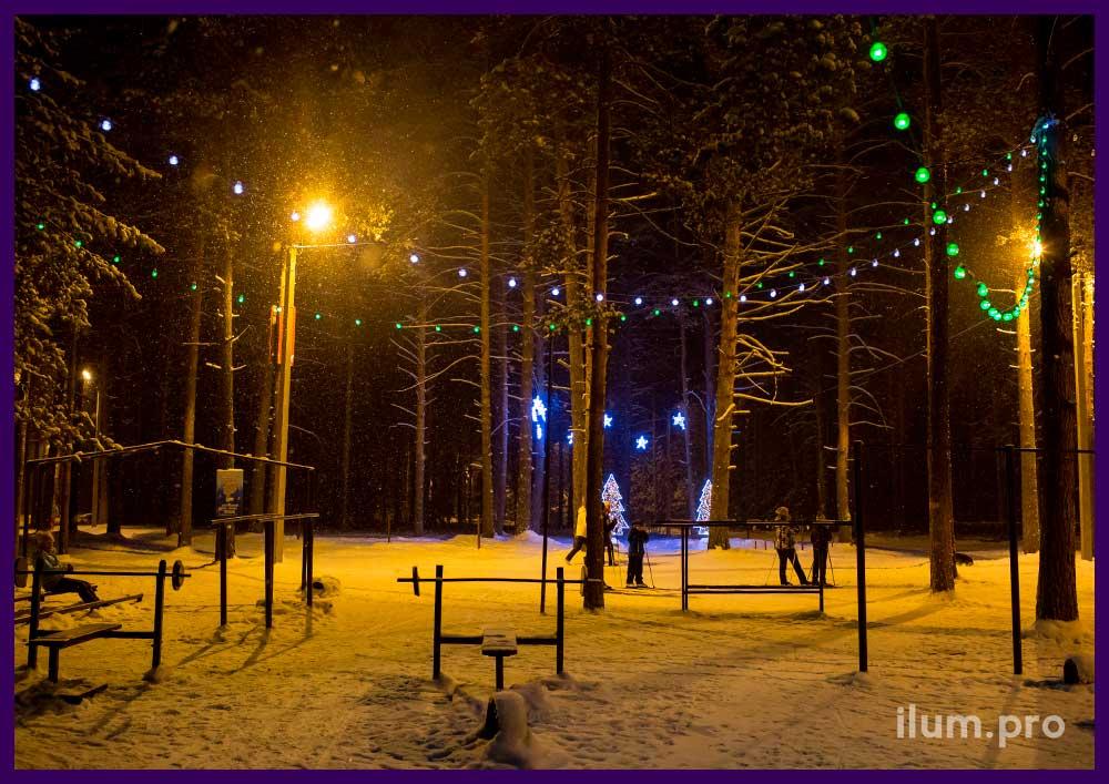 Подсветка гирляндами деревьев в парке