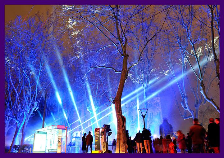 Освещение деревьев прожекторами