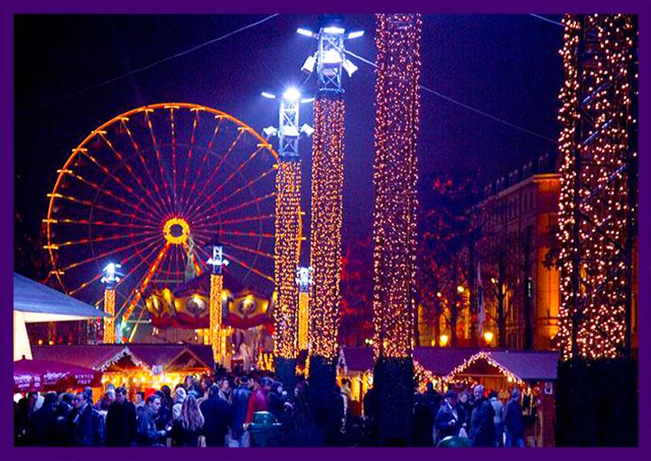 Светодиодное украшение ярмарки в Европе