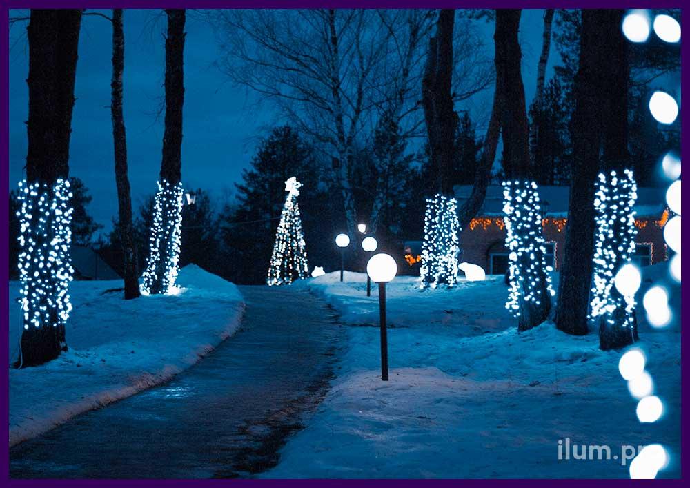 Светодиодные занавесы на деревьях в парке