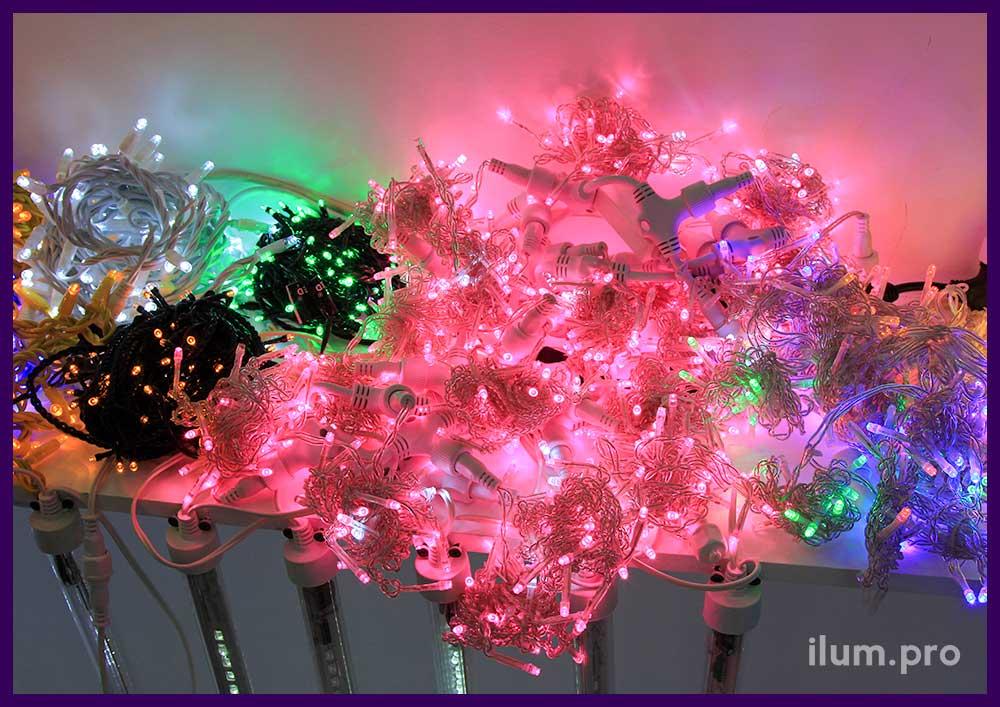 Светодиодные нити и сосульки для украшения города на Новый год