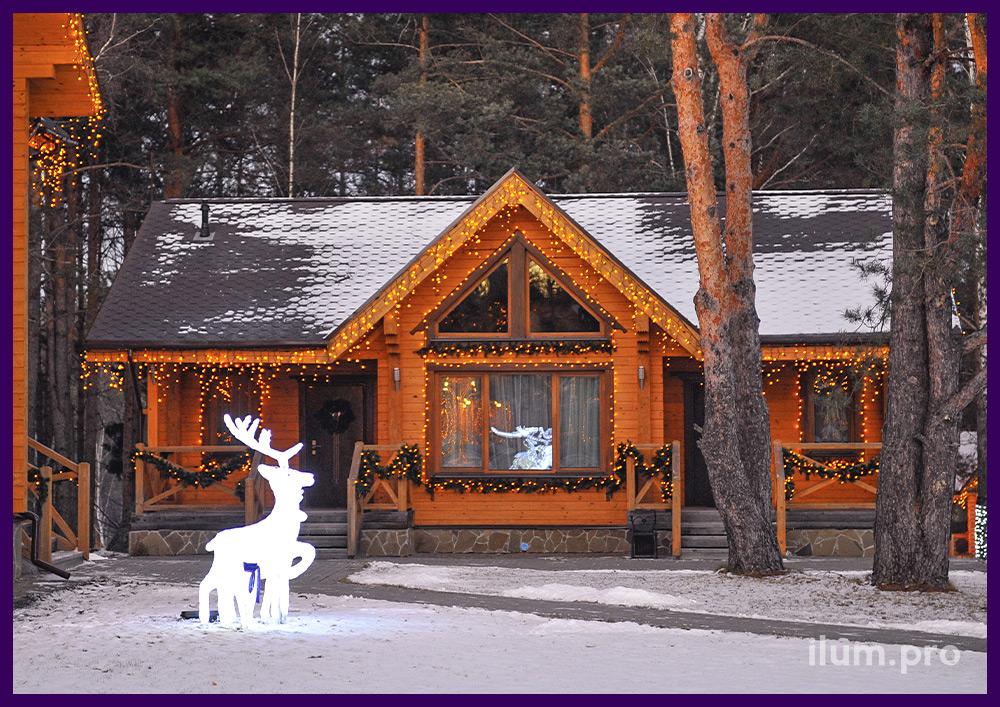 Световое украшение домов гирляндами и акриловые олени с подсветкой