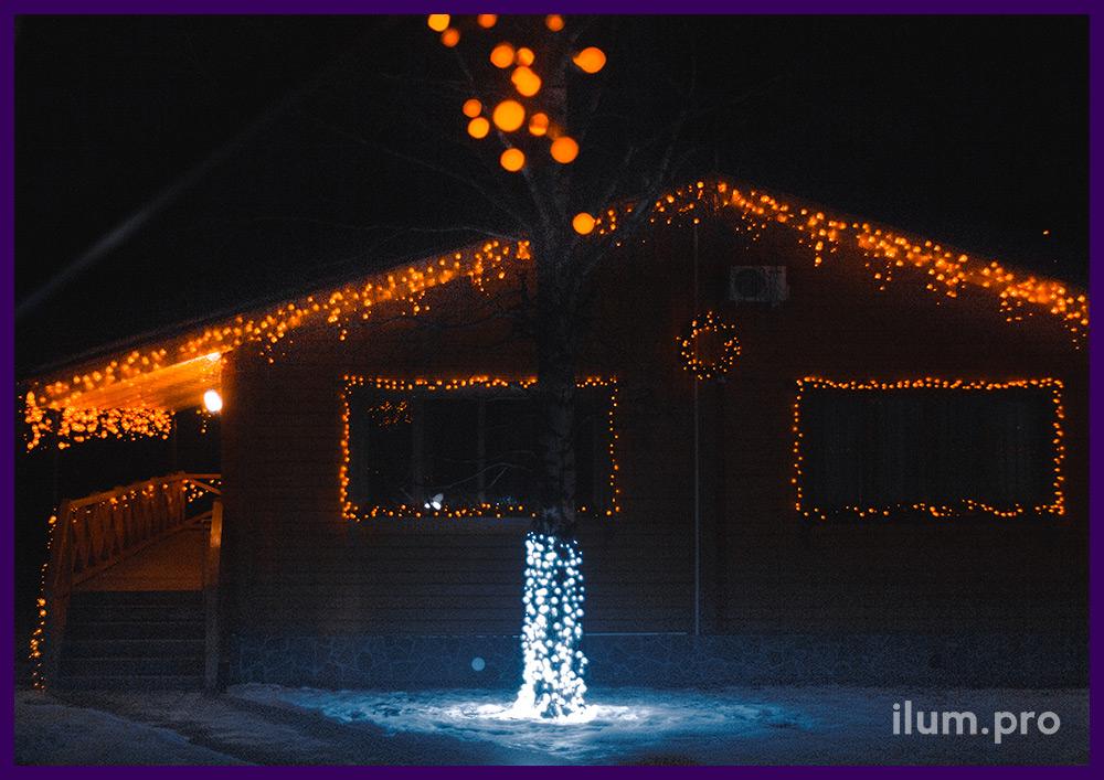 Подсветка крыши и окон гирляндами на каучуковом кабеле