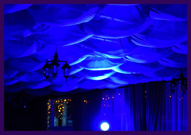 Подсветка светодиодными прожекторами интерьера банкетного зала
