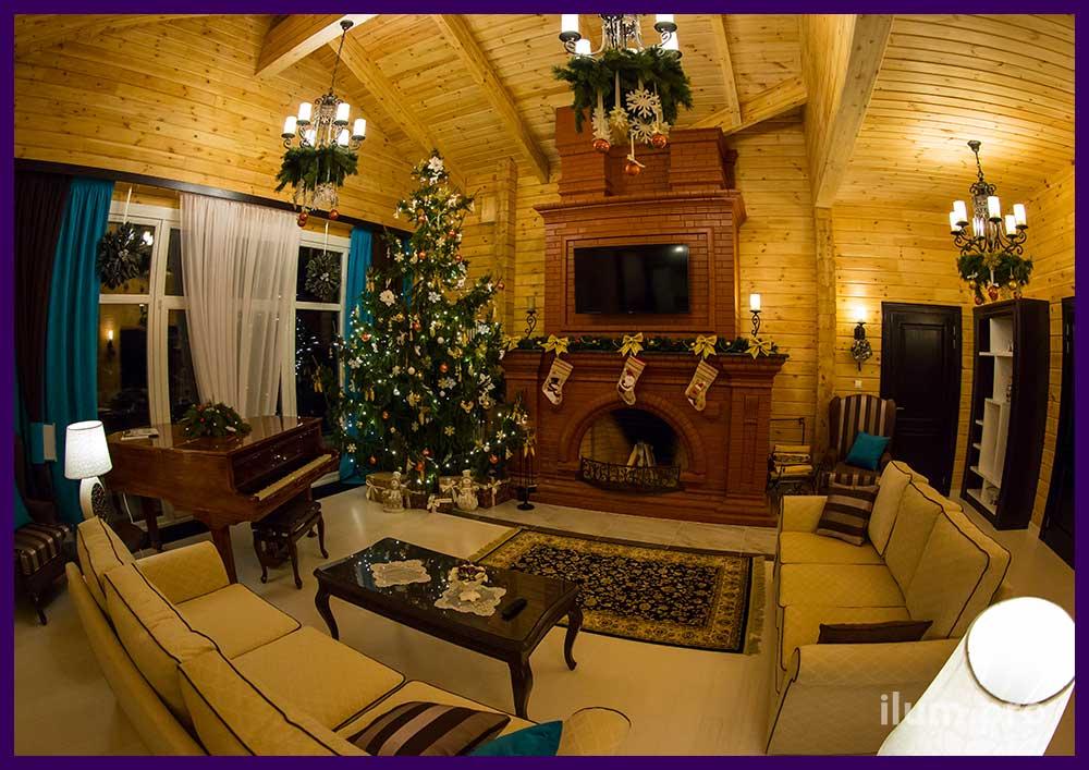 Новогоднее украшение интерьера частного дома и ёлки