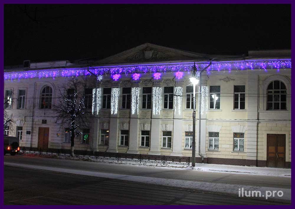 Украшение фасада светодиодными гирляндами во Владимире