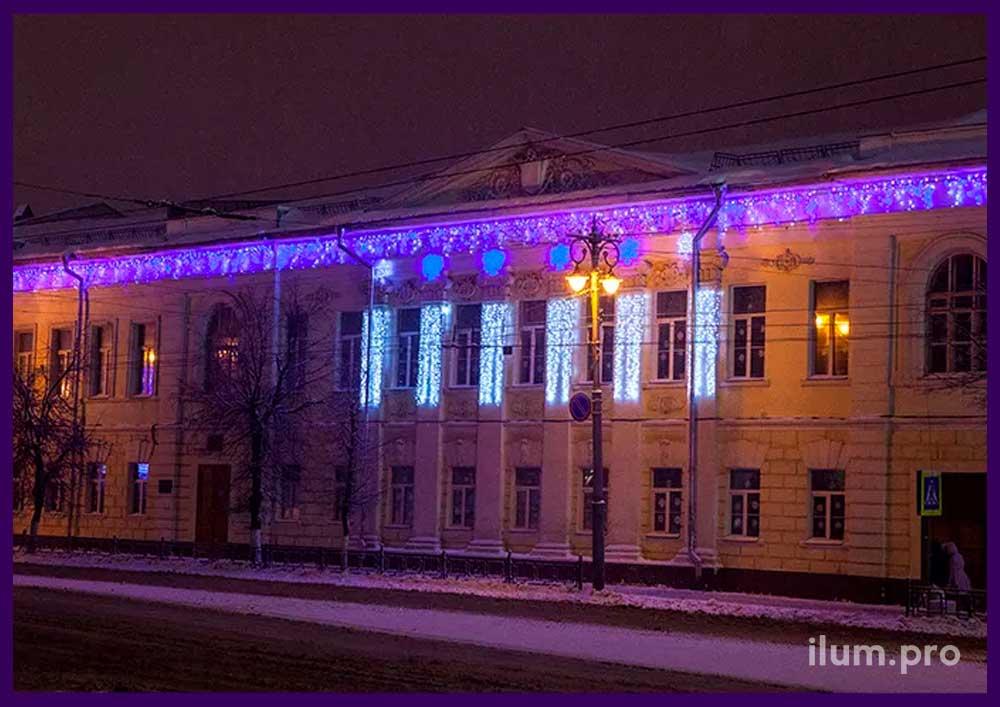 Подсветка фасада школы светодиодными занавесами и снежинками