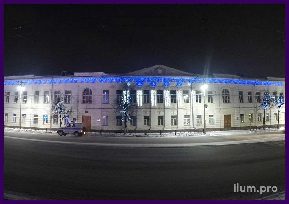 Светодиодная иллюминация на фасаде школы в России