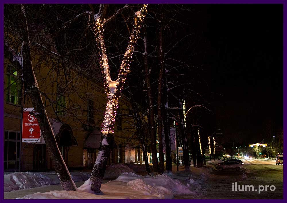 Украшение деревьев  светодиодным стрингом