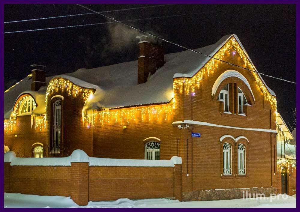 Светодиодная иллюминация на крыше частного дома