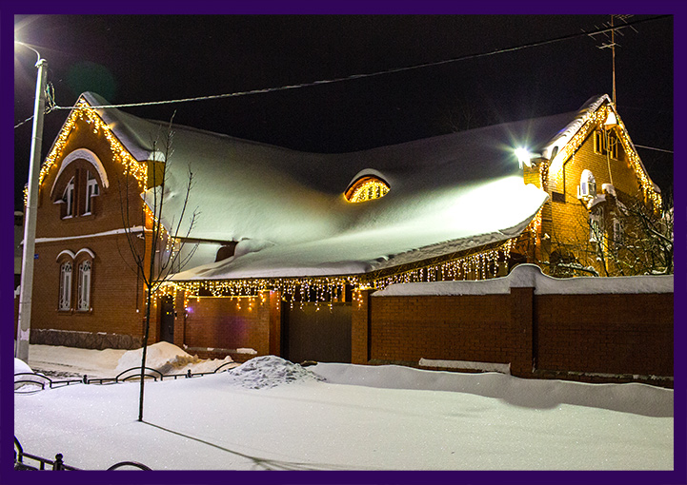 Светодиодная подсветка крыши дома лампочками