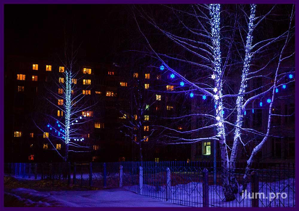 Светодиодное украшение деревьев в парке у школы