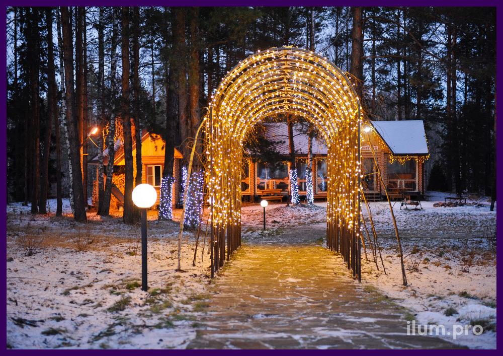 Иллюминация на арке в парке на Новый год