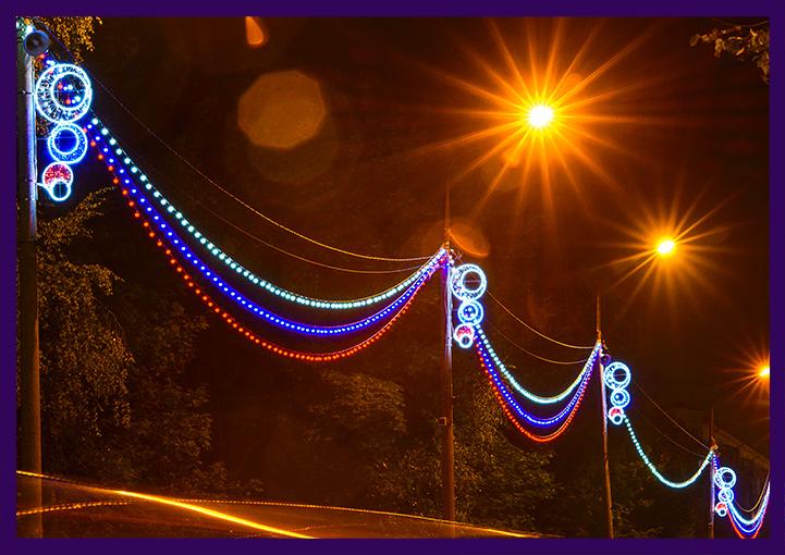 Украшение столбов светодиодным белтлайтом в Подмосковье
