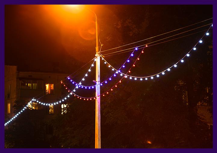 Светодиодный белтлайт на опорах освещения в Кашире