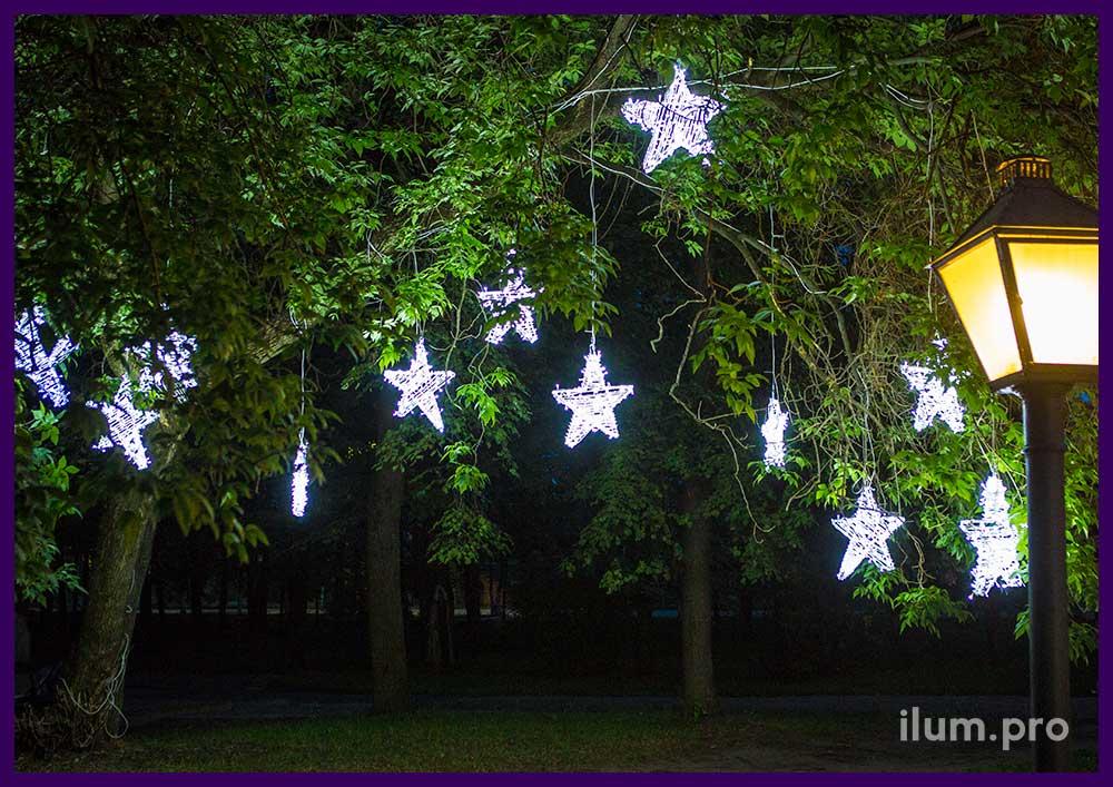 Светодиодные звёзды пятиконечные с гирляндами