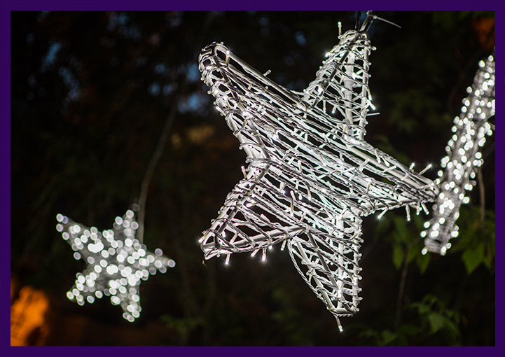 Светодиодная звезда из гирлянд на алюминиевом каркасе