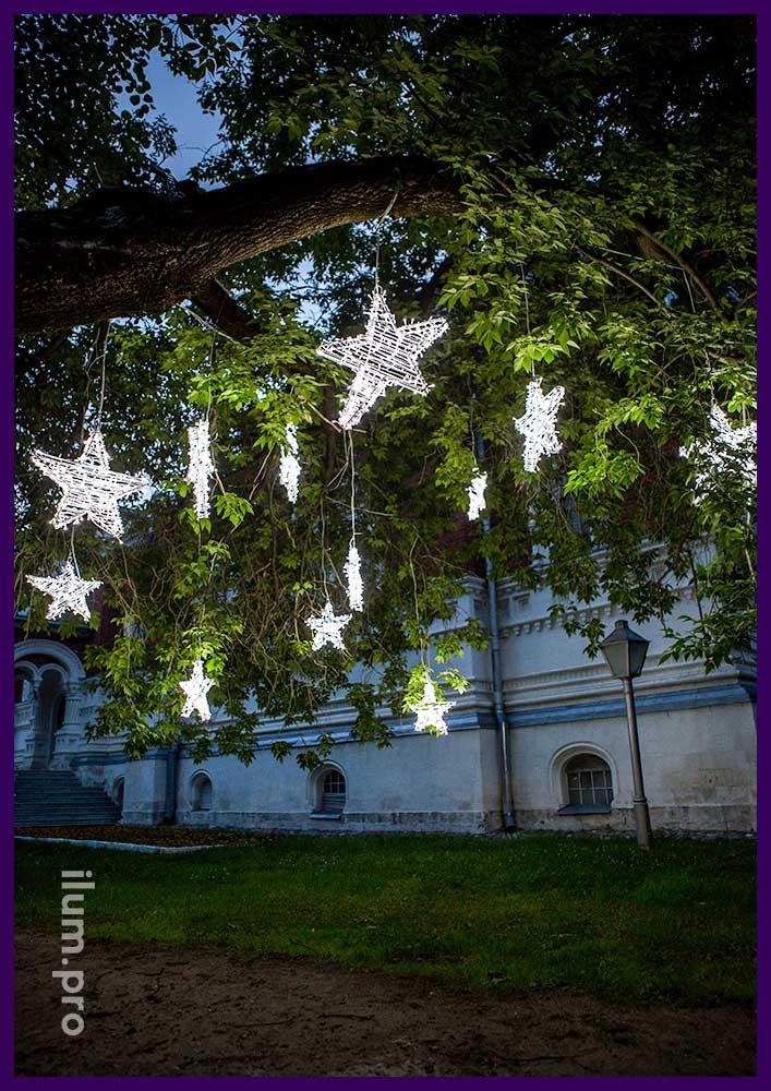 Городские световые звёзды на деревьях в парке