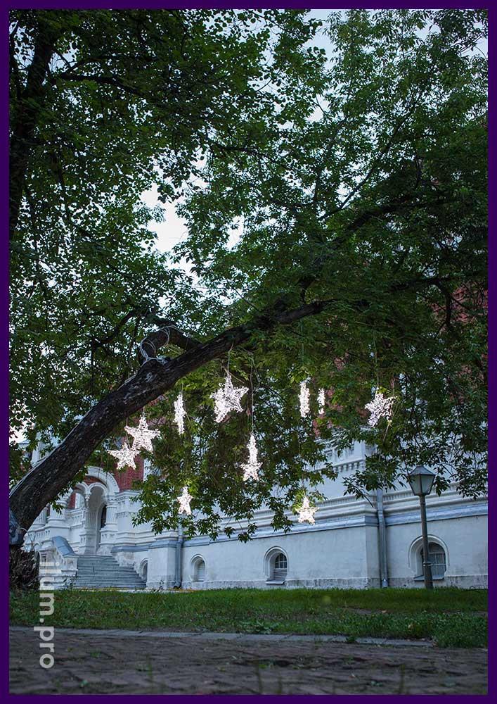 Яркие светодиодные звёзды на деревьях