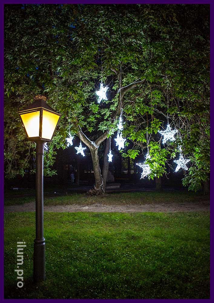 Звёзды на деревьях со светодиодной иллюминацией