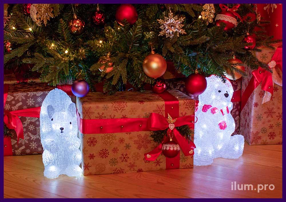 Новогодние украшения из акрила. Светящиеся фигурки животных под ёлку.