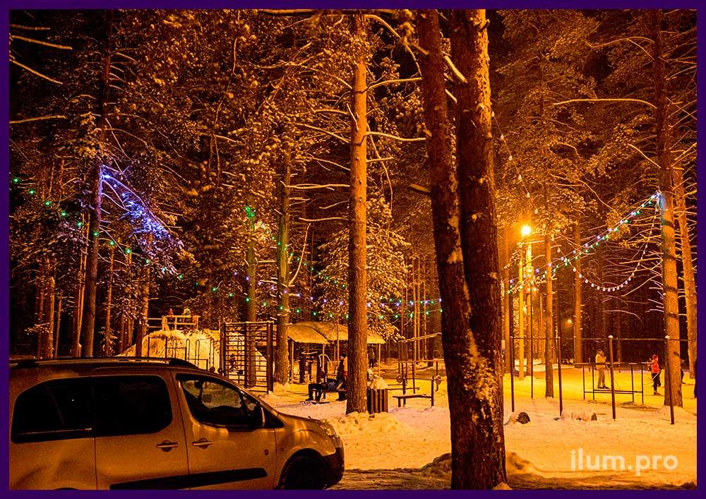 Светодиодная гирлянда с крупными лампочками для деревьев
