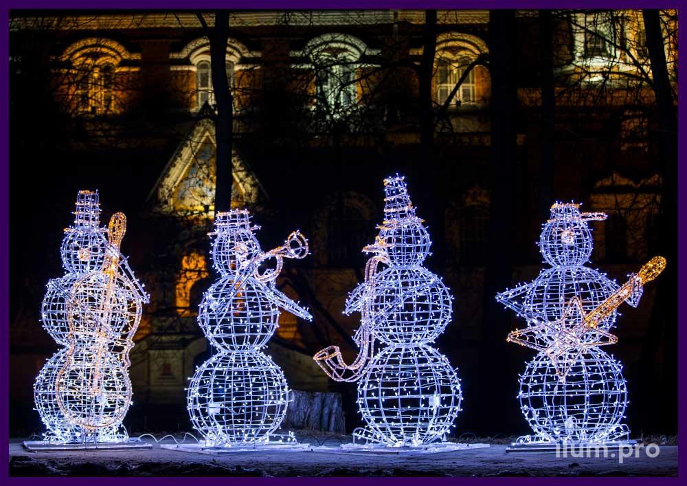 Светодиодные фигуры снеговиков для украшения города на Новый год