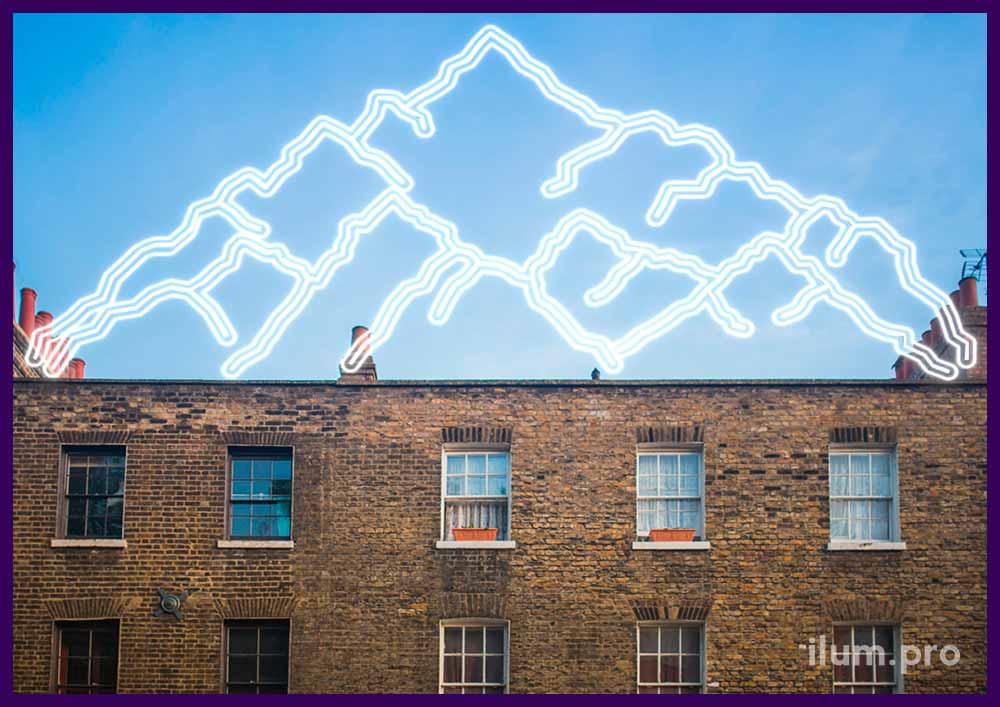 Светодиодная подсветка в форме горы. Украшения для крыши здания.