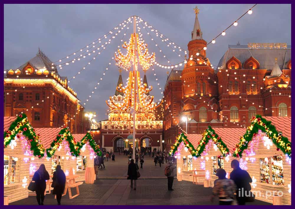 Новогодняя ярмарка. Концепция украшения Рождественской ярмарки.