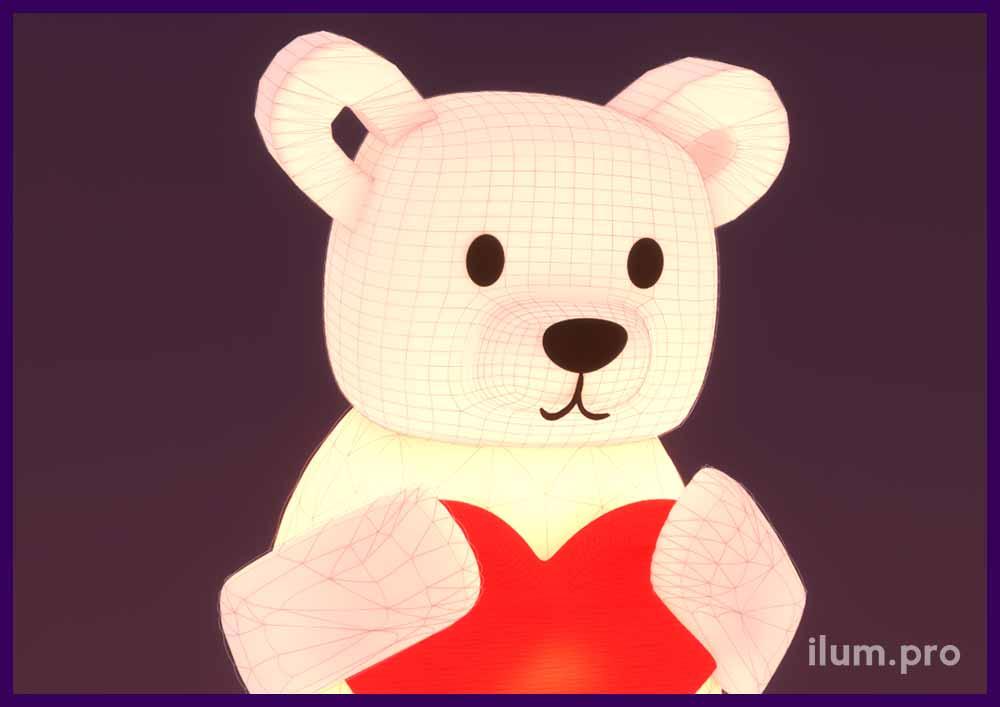Медведь с большим красным сердцем. Надувная фигура для украшения улицы.