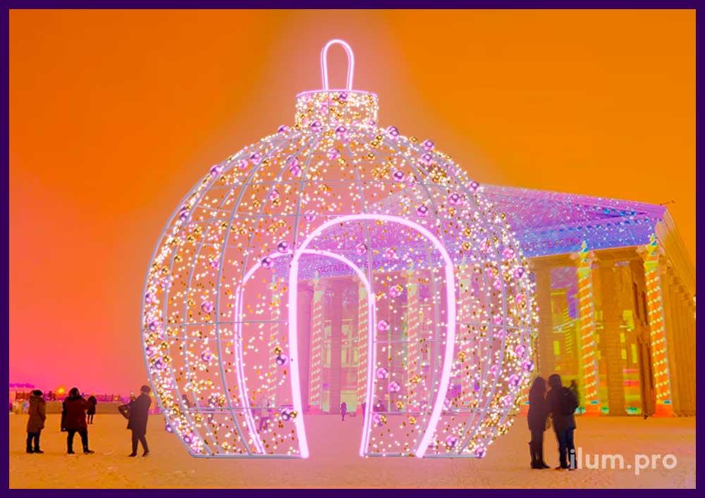 Огромный шар, ёлочная игрушка из гирлянд на Новый год