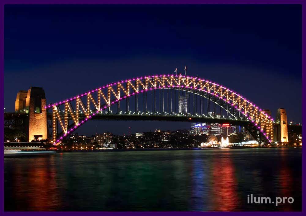 Украшение мостов к праздникам. Светодиодная подсветка.