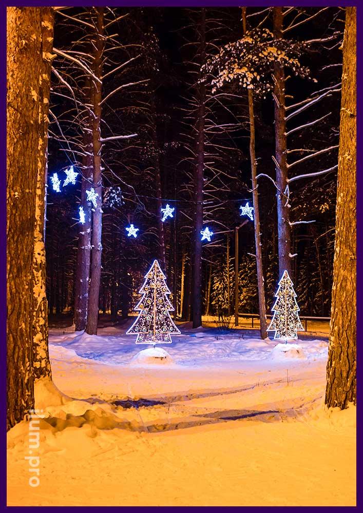 Новогоднее украшение для парка, фигуры ёлок и светящиеся звёзды