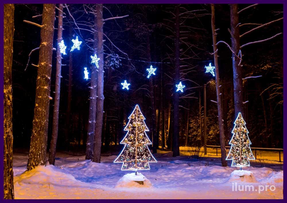 Уличная фотозона для парка на праздники из двух светящихся ёлок