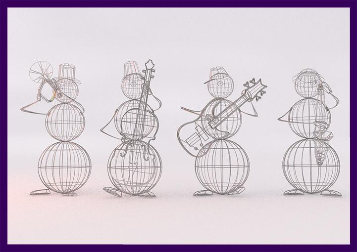 Проект снеговиков с музыкальными инструментами на Новый год