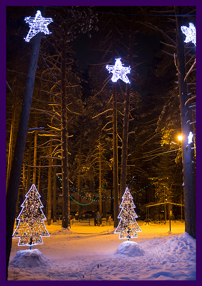 Консоли со звёздами для украшения спортивного клуба на Новый год