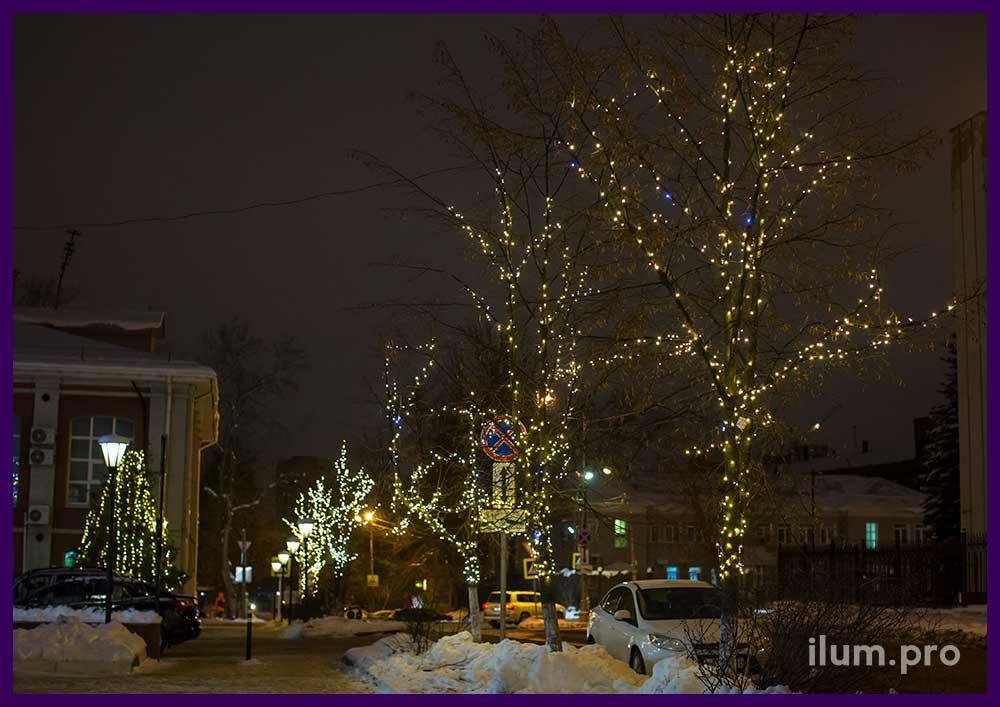 Новогодние гирлянды на деревьях в Иваново