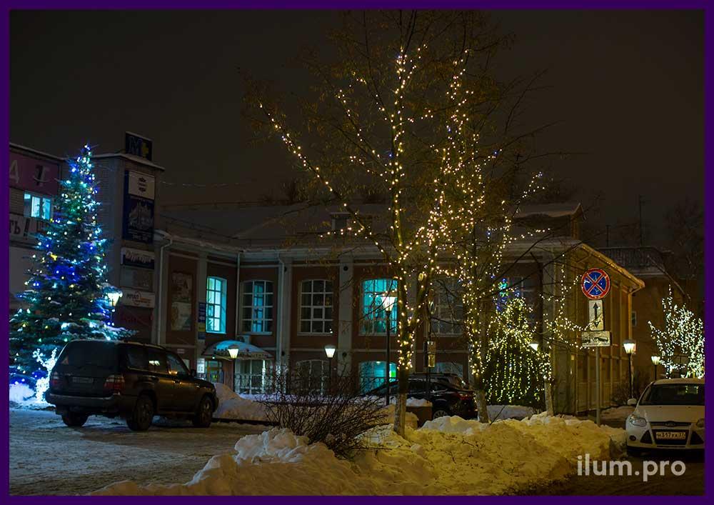 Украшение в Иваново к Новому году, ёлка и олени