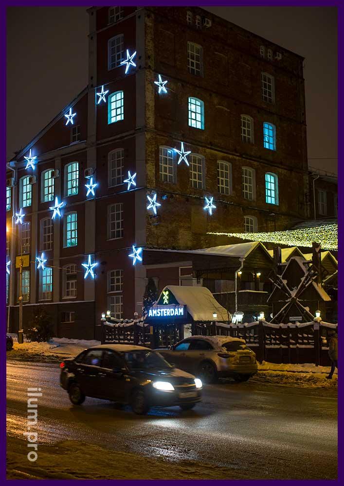 Новогодняя иллюминация в Иваново, звёзды и гирлянды
