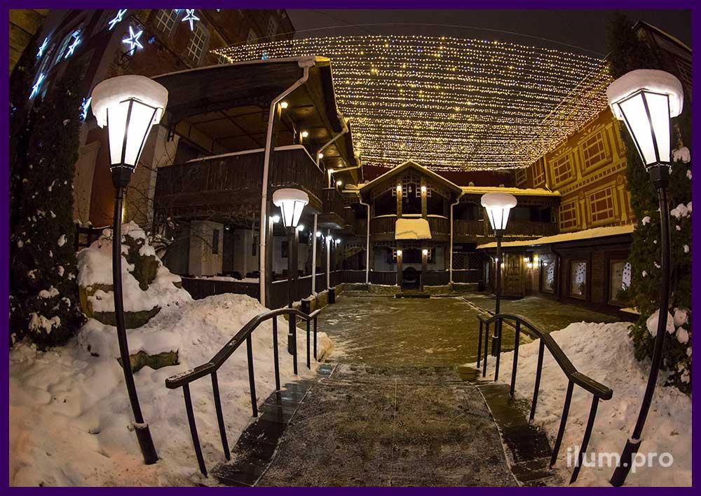 Новогоднее украшение ресторана в Иваново светодиодными гирляндами