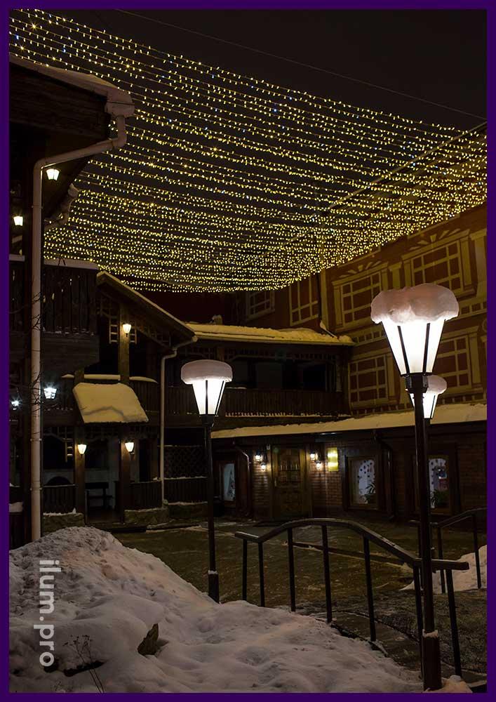 Украшение гирляндами ресторана Амстердам в Иваново к Новому году