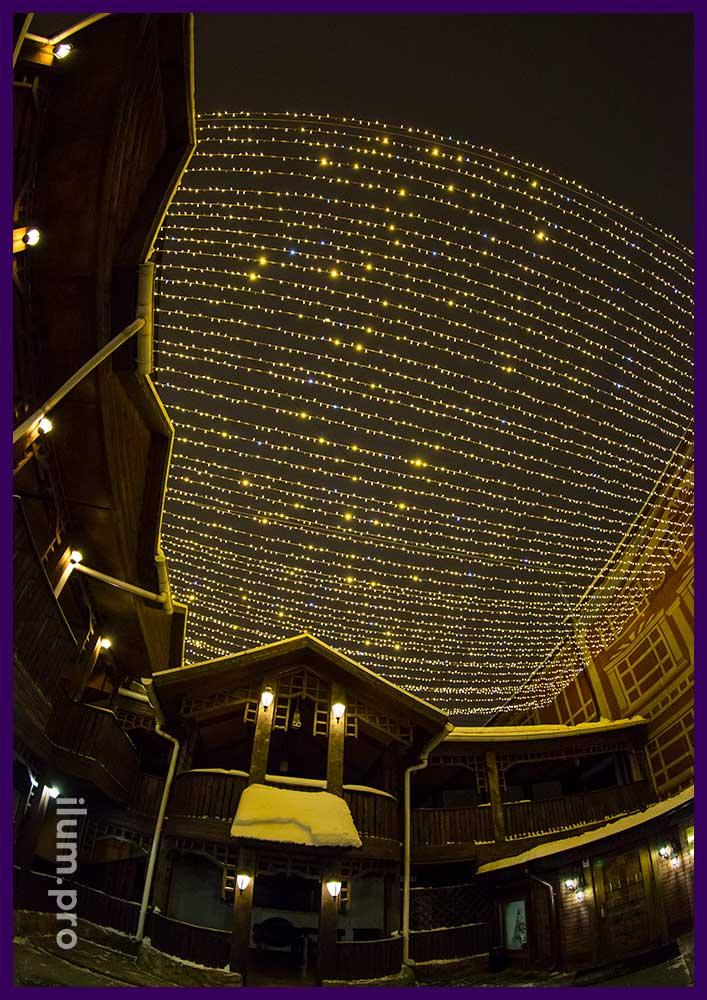 Новогодняя иллюминация в Иваново, гирлянды звёздное небо