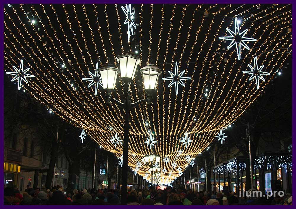 Новогоднее оформление Рязани светодиодными гирляндами