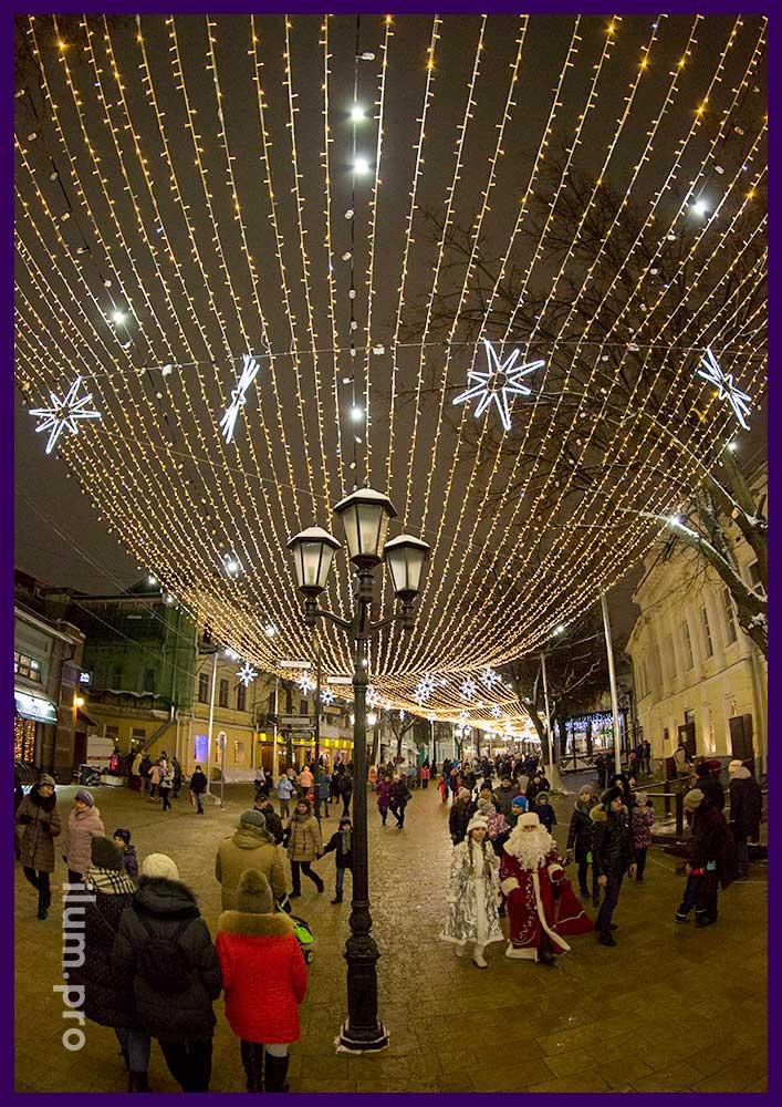 Украшение Рязани светодиодными гирляндами к новогодним праздникам