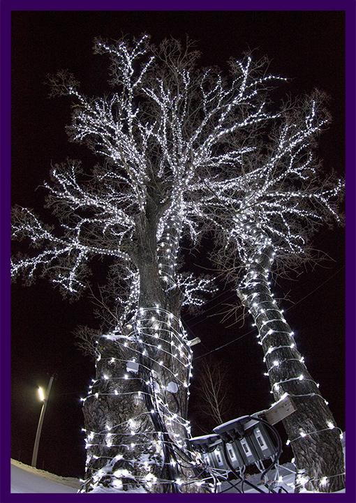 Новогоднее украшение дерева гирляндами