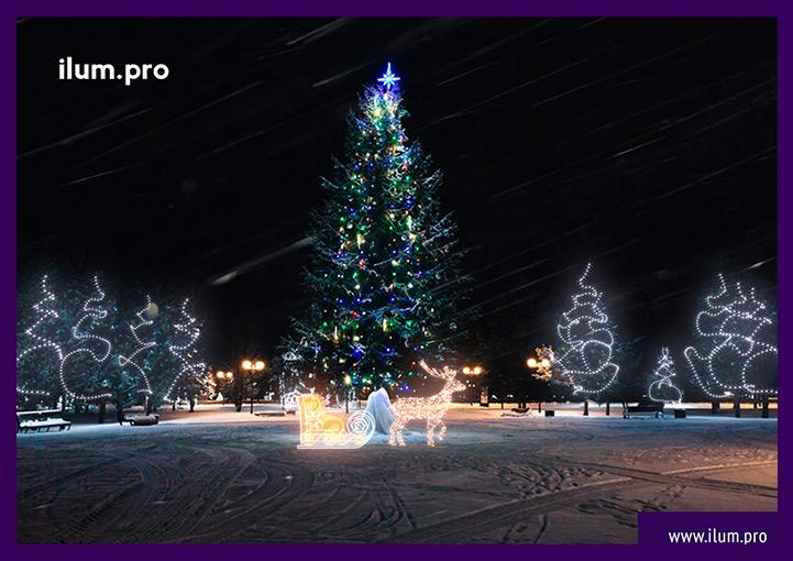 Новогоднее украшение территории и световые фигуры