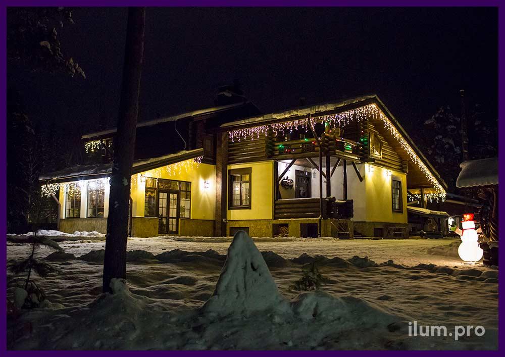 Новогодние гирлянды для крыши дома рядом с Иваново